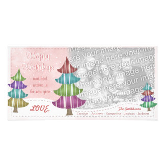 Happy Holidays Family Christmas Whimsical Trees Personalised Photo Card