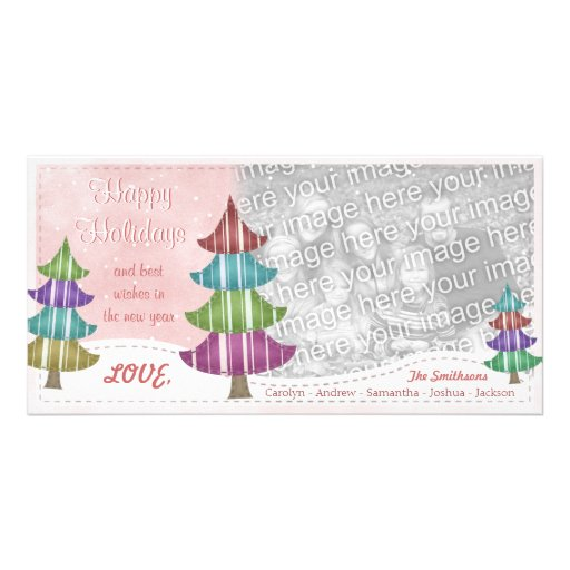Happy Holidays Family Christmas Whimsical Trees Picture Card