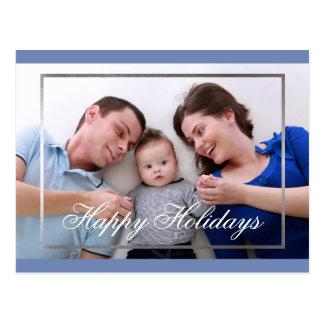 Happy Holidays Family Fake Silver Border Card Postcard