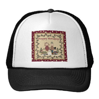Happy Holidays Family Mesh Hats