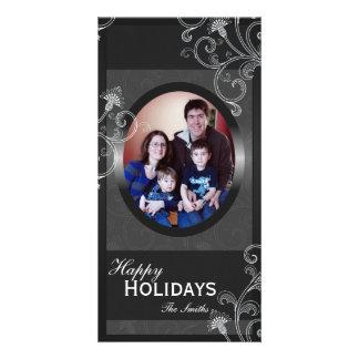 Happy Holidays Family Photo Card - Grey Victorian