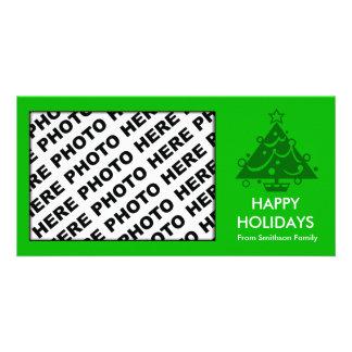 Happy Holidays Family Photo Card Tree Green