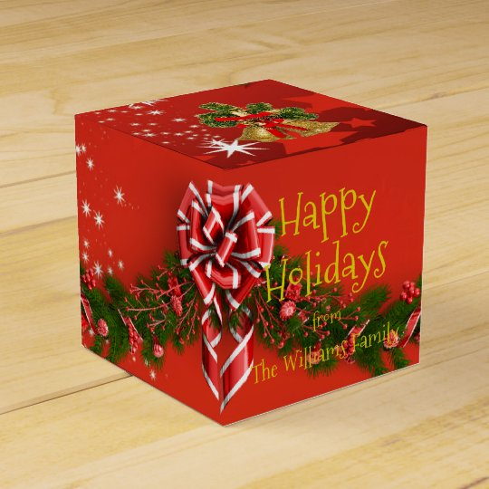 Happy Holidays Family Wishes Santas Hat Christmas Favour Box