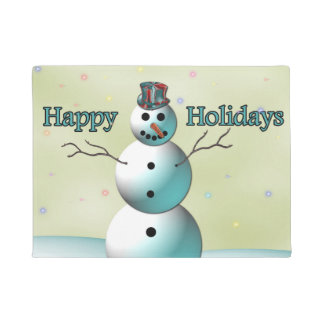 Happy Holidays, Fancy Snowman Doormat