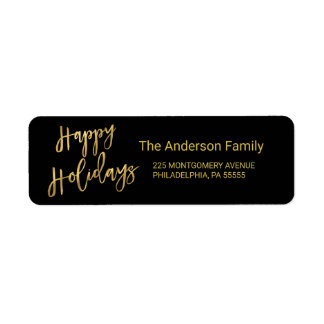 Happy Holidays Faux Gold Foil Look Return Address Return Address Label