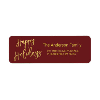 Happy Holidays Faux Gold Foil Return Address Return Address Label