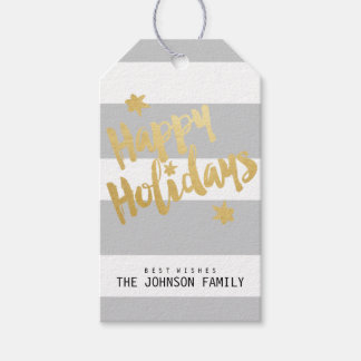 Happy Holidays Faux Gold Foil Striped Personalize Gift Tags