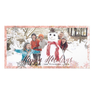 Happy Holidays Faux Rose Gold Snowflakes Card