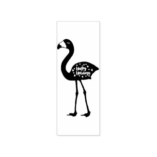 """Happy Holidays"" Flamingo Rubber Stamp, Facing Lf Rubber Stamp"