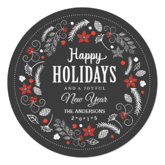 HAPPY HOLIDAYS FLORAL WREATH HOLIDAY PHOTO 13 CM X 13 CM SQUARE INVITATION CARD