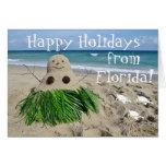 Happy Holidays Florida Christmas Snowman Sandman