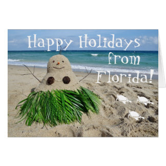 Happy Holidays Florida Christmas Snowman Sandman Card
