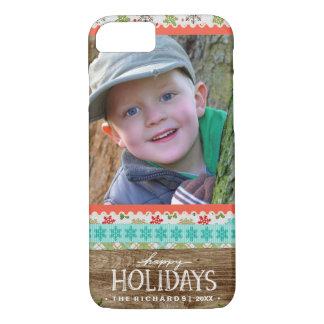Happy Holidays Fox and Owl Fun Christmas Photo iPhone 8/7 Case