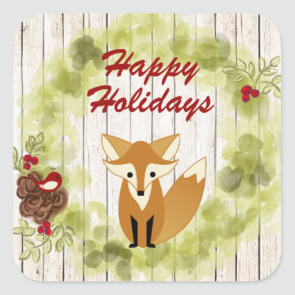 Happy Holidays Fox, Wreath and Wood Bkg Christmas Square Sticker