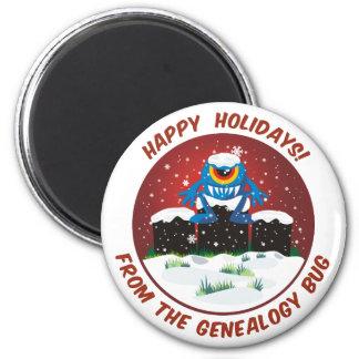 Happy Holidays From Genealogy Bug 6 Cm Round Magnet