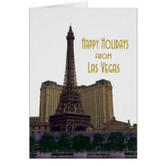 Happy Holidays from Las Vegas Eiffel Tower Card