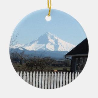 Happy Holidays from Mt. Hood Round Ceramic Decoration