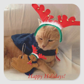 Happy Holidays from Stinky! Square Sticker