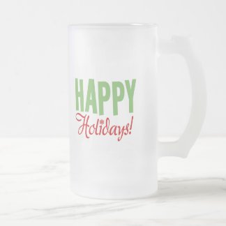 Happy Holidays Frosted Glass Beer Mug