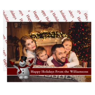 Happy Holidays Full Card Photo With Cute Snowman