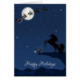 Happy Holidays Full Moon, Santa, Unicorn and Fairy Card
