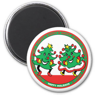 Happy Holidays Funny Dancing Christmas Trees 6 Cm Round Magnet
