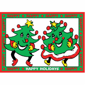 Happy Holidays Funny Dancing Christmas Trees Standing Photo Sculpture