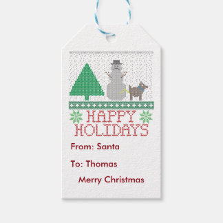 Happy Holidays Funny Dog Peeing Snowman Christmas Gift Tags