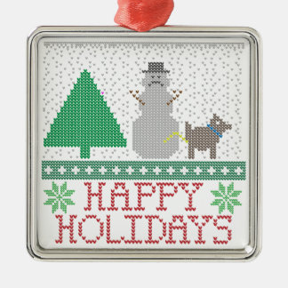 Happy Holidays Funny Dog Peeing Snowman Christmas Metal Ornament