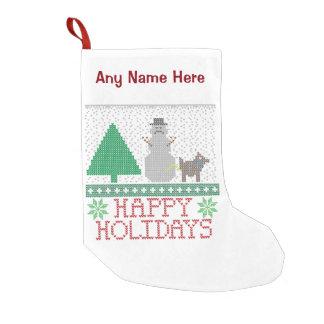 Happy Holidays Funny Dog Peeing Snowman Christmas Small Christmas Stocking
