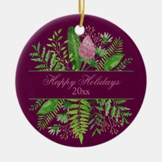 Happy Holidays Garden Woods Botanical Ceramic Ornament