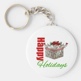 Happy Holidays Gift Box Key Chain