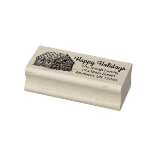 Happy Holidays Gingerbread Christmas Address Stamp