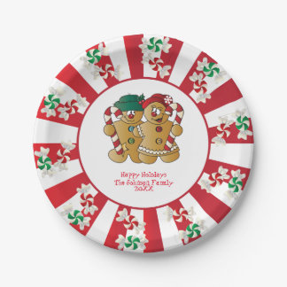 Happy Holidays Gingerbread Couple | DIY Text Paper Plate