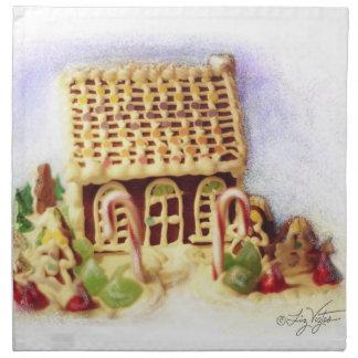 Happy Holidays Gingerbread House Napkin