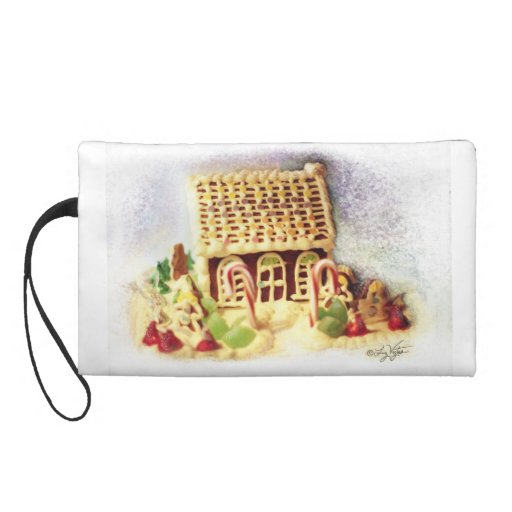 Happy Holidays Gingerbread House Wristlet