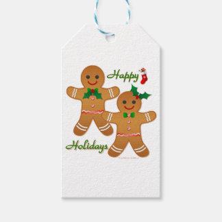 Happy Holidays Gingerbread Man Boy Girl Gift Tags