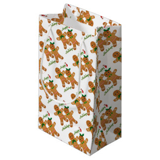 Happy Holidays Gingerbread Man Boy Girl Small Gift Bag