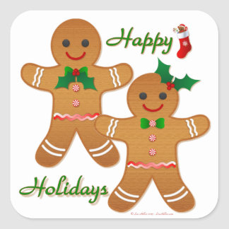 Happy Holidays Gingerbread Man Boy Girl Square Sticker