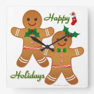 Happy Holidays Gingerbread Man Boy Girl Square Wall Clock