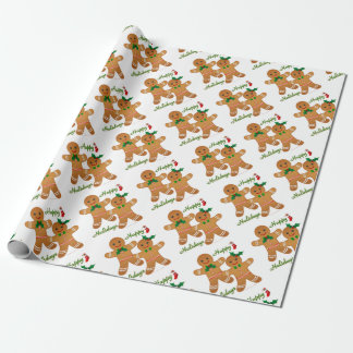 Happy Holidays Gingerbread Man Boy Girl Wrapping Paper