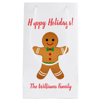 Happy Holidays! | Gingerbread Man Christmas Small Gift Bag