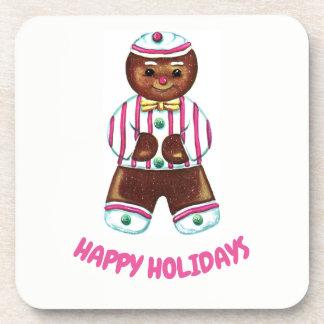 Happy Holidays Gingerbread Man Coaster