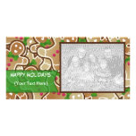 """""""Happy Holidays"""" Gingerbread PhotoCard Personalized Photo Card"""