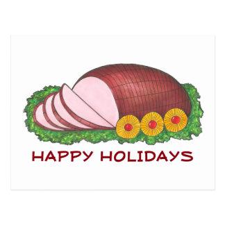 Happy Holidays Glazed Ham Dinner Foodie Postcard