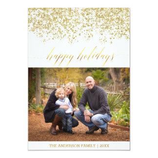 Happy Holidays glitter Christmas Card 13 Cm X 18 Cm Invitation Card