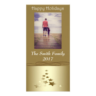 """""""Happy Holidays"""" Gold Christmas Tree on Gold Card"""
