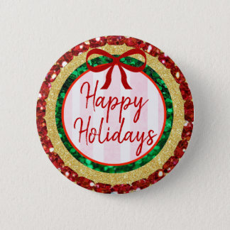 Happy Holidays Gold Glitter with Bow Button