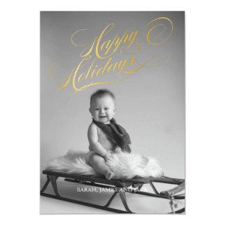 Happy Holidays Gold Metallic Foil Snowflakes Cards 13 Cm X 18 Cm Invitation Card