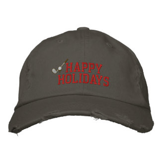 Happy Holidays Golf Embroidered Hat